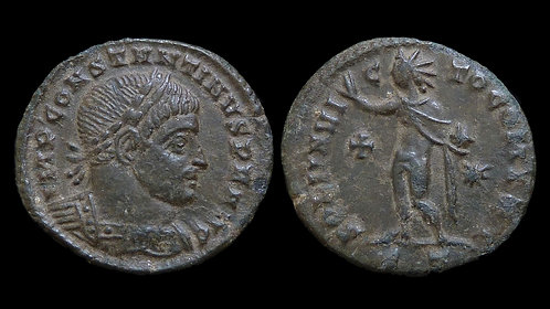 CONSTANTINE I . AD 306-337 . AE  Follis . Sol . Early use of the Christian cross