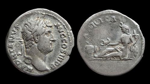 """HADRIAN . AD 117-138 . Denarius . """"Travel series, Africa"""""""