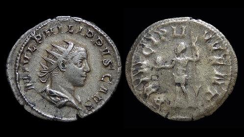 "PHILIP II, as Caesar . AD 244-246 . AR Antoninianus . ""Prince of Youth"""
