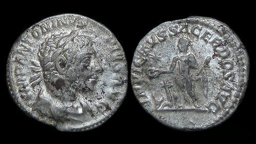 ELAGABALUS . AD 218-222 . AR Denarius. Horned Portrait/Invincible Priest Emperor