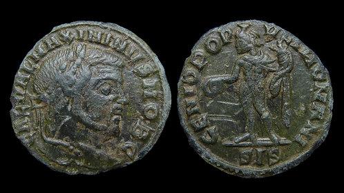 "MAXIMINUS II DAIA, as Caesar . AD 305-309 . 1/4 Follis . ""Genius"" . Rare"