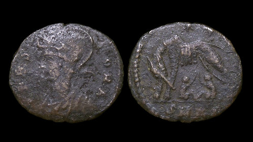 """VRBS ROMA, City Commemorative . AD 330-346 . AE3 . """"Wolf and Twins"""""""