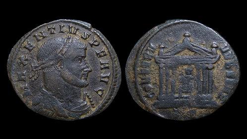 """MAXENTIUS . AD 306-312 . Follis . """"Temple of Roma"""" . Ticinum"""