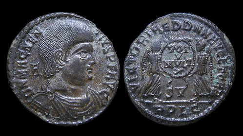 "MAGNENTIUS, Usurper . AD 350-353 . AE2 . ""Two Victories"" . Silvered"