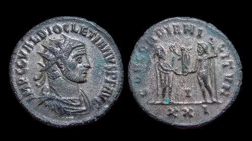 DIOCLETIAN . AD 284-305 . AE Antoninianus . Emperor & Jupiter . Antioch mint