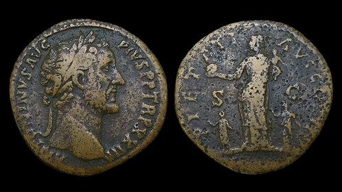 ANTONINUS PIUS . AD 138-161 . AE Sestertius . Pietas - Final Year Issue