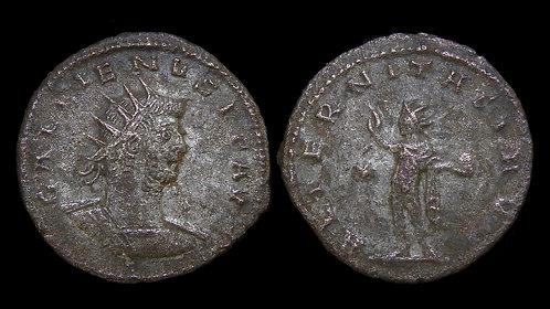 """GALLIENUS . AD 253-268 . Silvered Antoninianus . Sol . """"AETERNITATI AVG"""""""