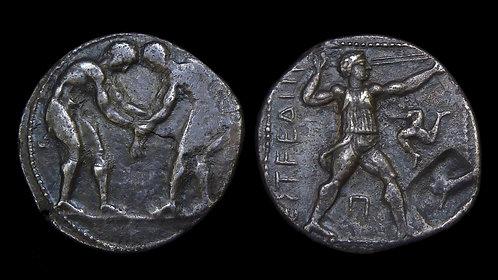 PAMPHYLIA, Aspendos . 380-325 BC . AR Stater . Wrestlers / Slinger . Ex HJ Berk