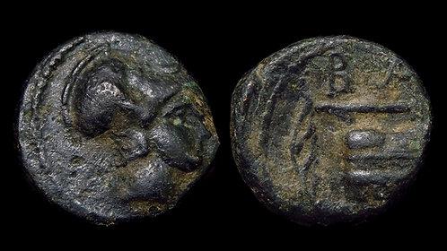 "MACEDONIAN KINGDOM . Demetrios I Poliorketes, 294-288 BC . AE11 . ""The Beseiger"""