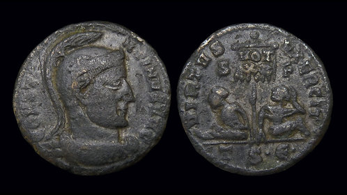 "CONSTANTINE I . AD 306-337 . AE3 . ""Standard and Captives"" . Thessalonica"