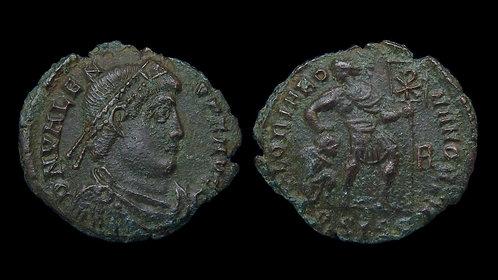 VALENS . AD 364-378 . AE3 . Emperor dragging captive