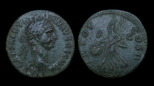 TRAJAN . AD 98-117 . AE As . Winged Victory carrying SPQR shield