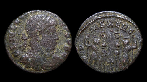 CONSTANTIUS II, as Caesar . AD 324-337 . AE3 . *Rare variety with cross symbol*