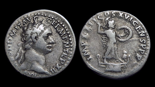 DOMITIAN . AD 81-96 . AR Denarius . Minerva, goddess of battle and wisdom