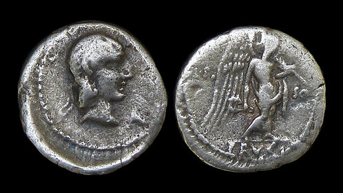 ROMAN REPUBLIC . L Cal Piso Frugi, 90 BC . AR Quinarius . Scarcer fractional