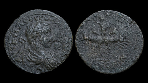 SEVERUS ALEXANDER . EGYPT, Alexandria . AE32 . Helios driving quadriga