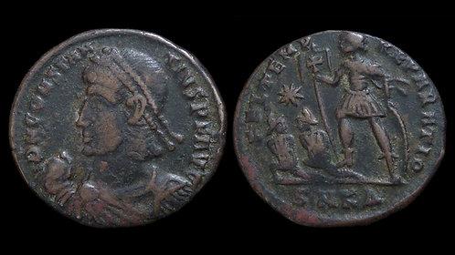 CONSTANTIUS II . AD 337-361 . AE2 . Emperor with captives