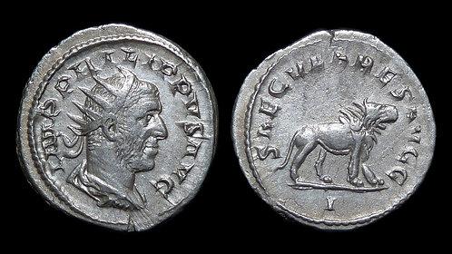 PHILIP THE ARAB . AD 244-249 . Antoninianus . Lion . 1000th Anniversary of Rome