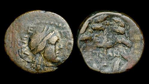 AEOLIS, Elaia . Circa 27 BC - AD 14. AE15 . Demeter / Torch *Rare Variety*