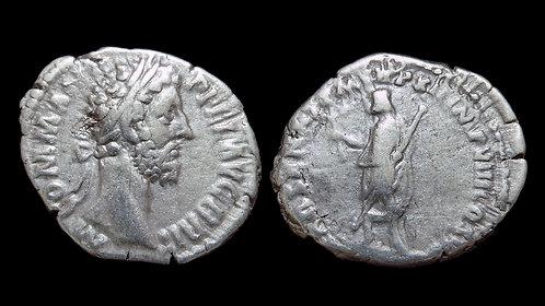 COMMODUS . AD 177-192 . AR Denarius . Emperor as Father of the Senate