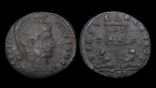 "CONSTANTINE I . AD 306-337 . AE3 . ""Standard and Captives"" . Trier"