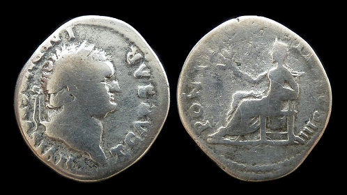 TITUS, as Caesar . AD 69-79 . AR Denarius . Pax, Goddess of Peace