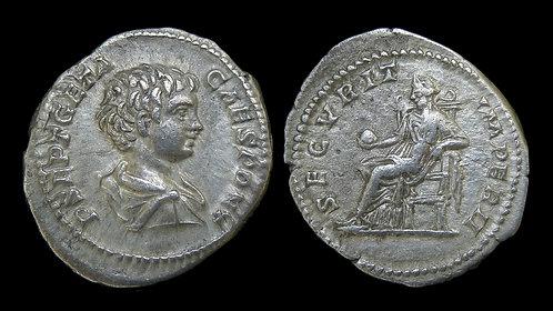 GETA, as Caesar . AD 198-209 . AR Denarius . Securitas seated