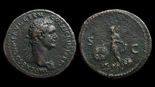 "DOMITIAN . AD 81-96 . As . ""Victory"" . Rare, Fine style"