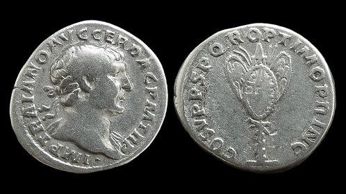 """TRAJAN . AD 98-117 . Denarius . """"Trophy of Arms"""" . Very Rare"""