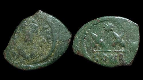 BYZANTINE EMPIRE . Phocas, AD 602-610 . AE Half-Follis