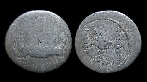 ROMAN IMPERATORS . Mark Antony, 32-31 BC . 'Legionary' Denarius . Legio XI