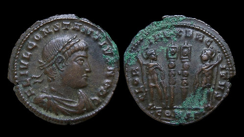 "CONSTANTIUS II, as Caesar . AD 324-337 . AE3 . ""Glory of the Army"""