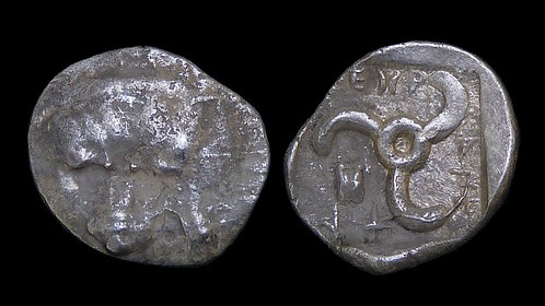 LYCIA, Dynasts of . Mithrapata, 390-370 BC . AR Diobol . Lion scalp / Triskeles