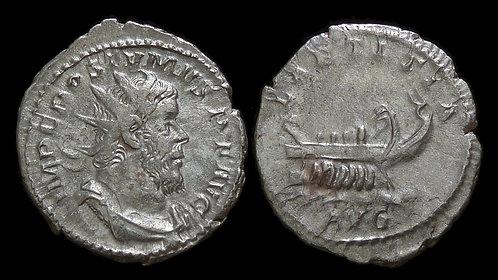 POSTUMUS, Usurper . AD 260-269 . Billon Antoninianus . Galley / LAETITIA