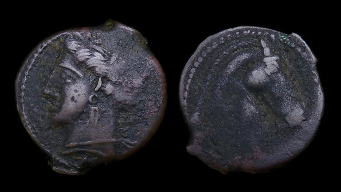 ZEUGITANA, Carthage . Sardinian mint, 300-264 BC . AE21 . Tanit / Horse head
