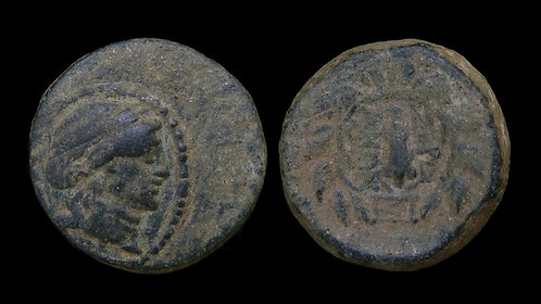 LYDIA, Sardes . 2nd-1st centuries BC . AE17 . Apollo / Club in wreath