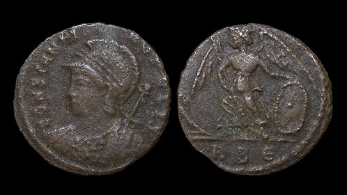 "CONSTANTINOPOLIS, City Commemorative . AD 330-346 . AE3 . ""Victory on Prow"""