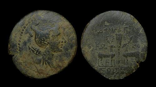 IONIA, Ephesos . Circa 48-27 BC . AE20 . Artemis / Stags
