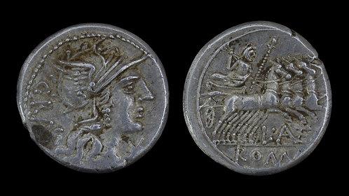 ROMAN REPUBLIC . L Antestius Gragulus, 136 BC . Denarius . Jupiter in Quadriga