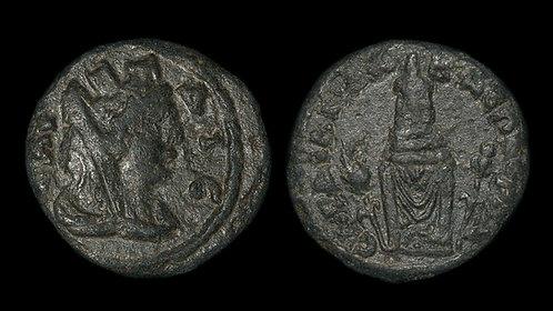 PSEUDO-AUTONOMOUS . LYDIA, Sardes . 2nd century AD . AE19 . Cult Statue of Kore