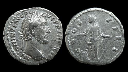 """ANTONINUS PIUS . AD 138-161 . Denarius . """"Annona, Goddess of Grain"""""""