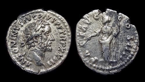 ANTONINUS PIUS . AD 138-161 . AR Denarius . Pax, Goddess of Peace