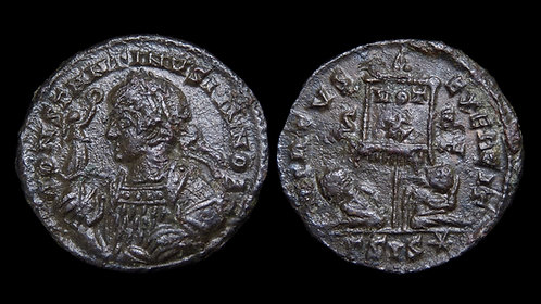 "CONSTANTINE II, as Caesar . AD 316-337 . AE3 . ""Standard and Captives"""