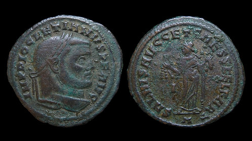 "DIOCLETIAN . AD 284-305 . Follis . ""Carthage holding fruits"" . Scarce"