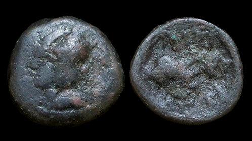 SELEUKID KINGDOM . Seleukos II, 246-225 BC . AE11 . Jugate Dioscuri *Very Rare*