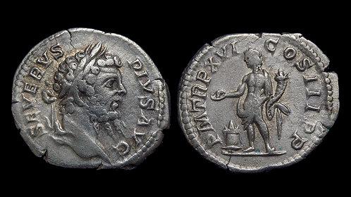 SEPTIMIUS SEVERUS . AD 193-211 . AR Denarius . Genius .
