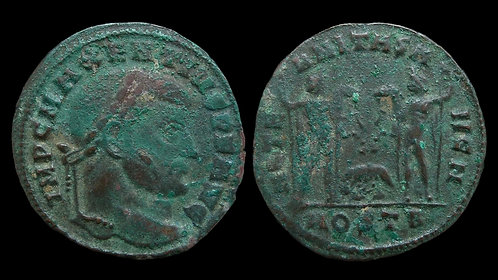 "MAXENTIUS . AD 306-312 . Follis . ""Dioscuri with Wolf & Twins"" . Ostia"
