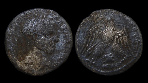 MACRINUS . SELEUCIS and PIERIA, Emesa . AR Tetradrachm . Head of Shamash
