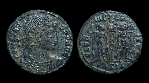 CONSTANS . AD 337-350 . AE4 . Soldier & Standards . Ex Forvm Ancient Coins