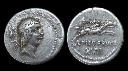 ROMAN REPUBLIC . L Cal Piso Frugi, 90 BC . Denarius . Ex Scorpion Collection
